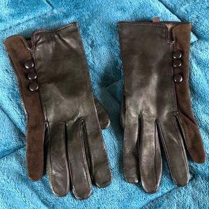 Merona Leather Gloves Woman L/XL Brown Winter